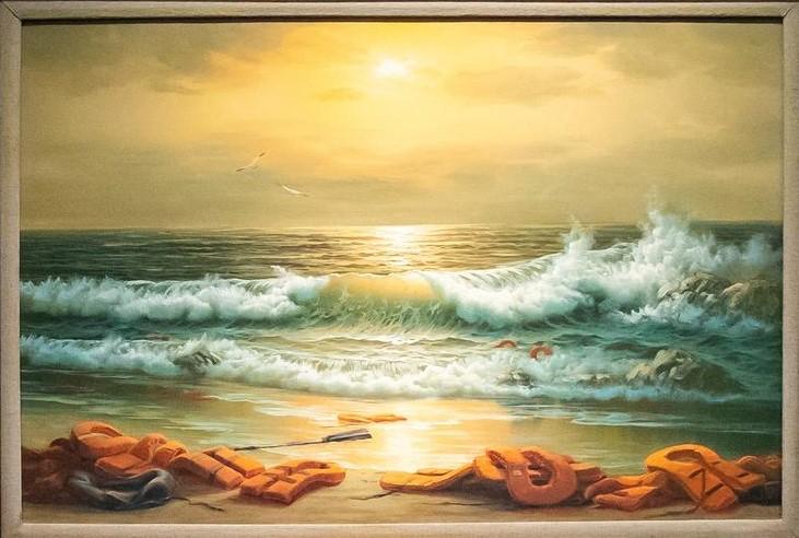 """Gemälde von Banksy mit dem Titel """"Mediterranean Sea View 2017"""""""